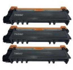 Compatible Brother TN 660 Black Toner Cartridge High Yield Version of TN630 3 Pack