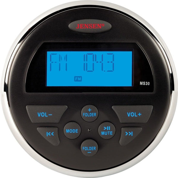 JENSEN MS30 AM/FM/USB Compact Waterproof Stereo,Blue Backlight,MS30RTL