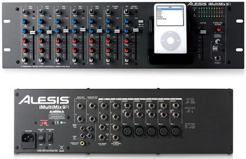 Alesis iMultiMix9R  9-channel Rack Mount  Mixer With iPod Dock