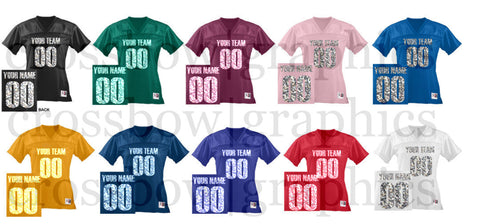 7df0f2db CUSTOM Women's Football Jersey ANY Color Personalized GLITTER Numbers Name  & Team