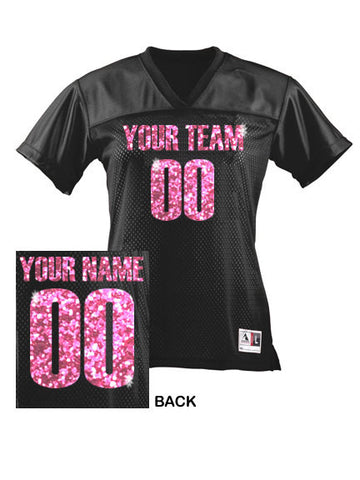 premium selection 652f5 10963 CUSTOM Women's Football Jersey ANY Color Personalized GLITTER Numbers Name  & Team