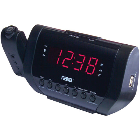 NAXA NRC-167 Projection Alarm Clock with USB Charger