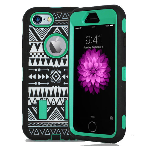 IPhone 6 / 6S Tribal Rubber Hard Full Body Case Cover Green