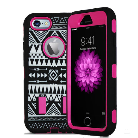 IPhone 6 / 6S Tribal Rubber Hard Full Body Case Cover Pink