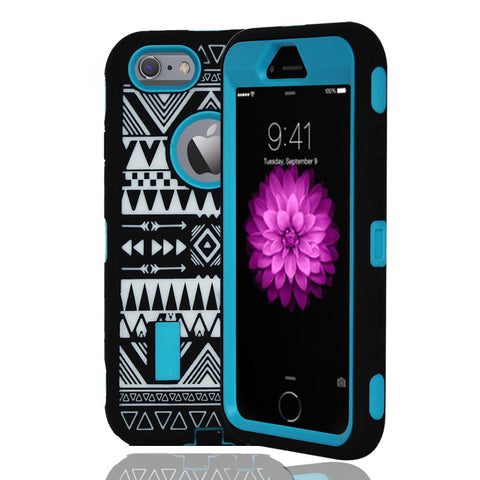 IPhone 6 / 6S Tribal Rubber Hard Full Body Case Cover Blue