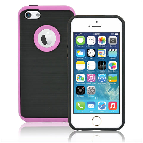 IPhone SE / 5S Brushed Hybrid Armor Protective Case Cover Pink
