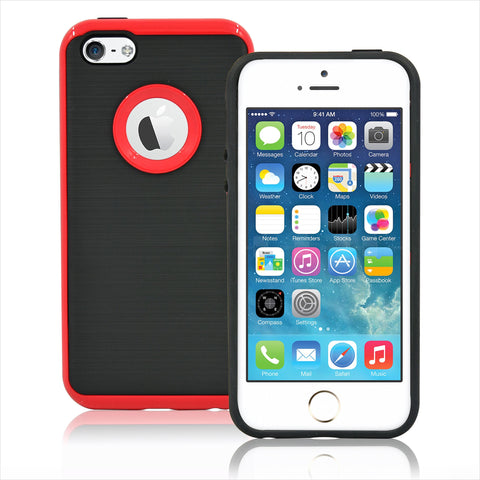 IPhone SE / 5S Brushed Hybrid Armor Protective Case Cover Red