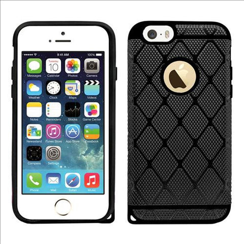 IPhone SE / 5S Rugged Rubber Protective Case Cover Black