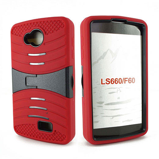 LG Tribute LS660 Hybrid Silicone Case Cover Stand Red