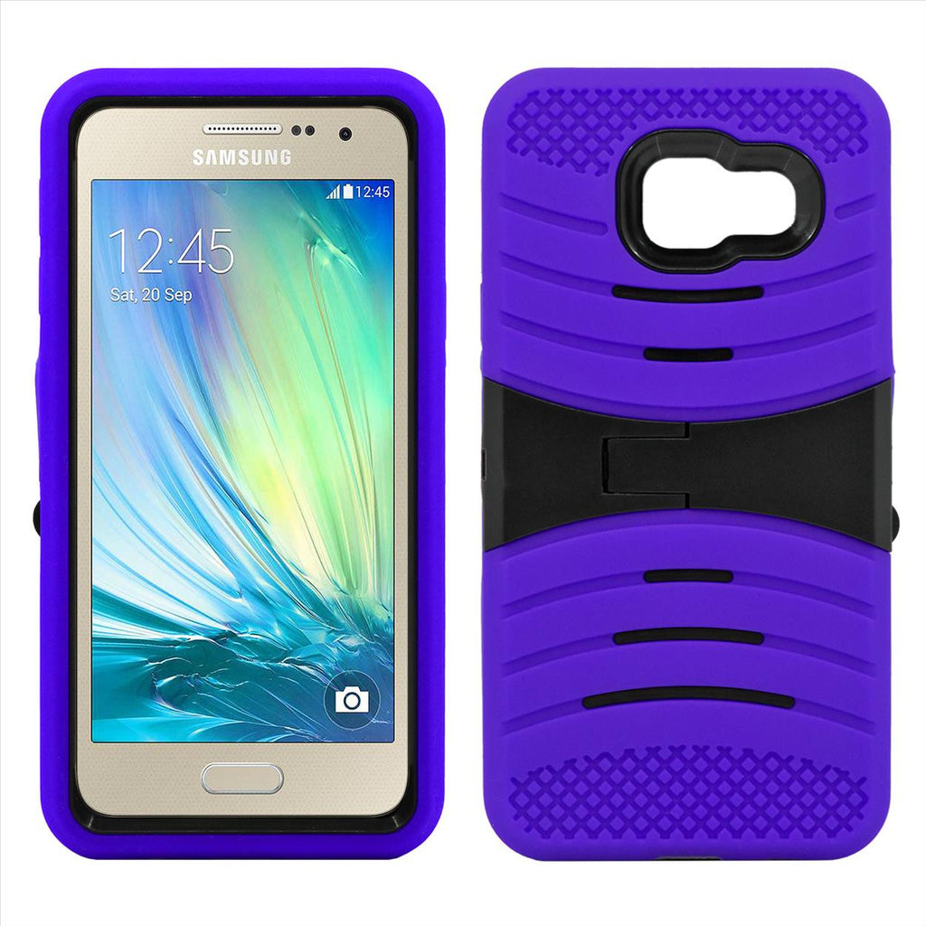 Samsung Galaxy A3 Hybrid Silicone Case Cover Stand Purple