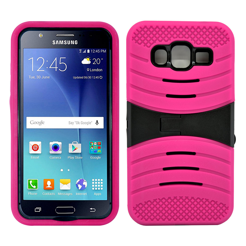 Samsung Galaxy J5 Hybrid Silicone Case Cover Stand Pink