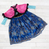 Character Inspired Princess Dress - Royal Blue, Gold and Hot Pink