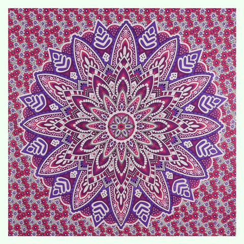 "90"" Square Indian Mandala Beach Throw - Purple & Plum Lotus Pattern with Flowers"