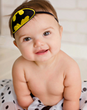 Embroidered Black & Yellow Batman Logo On Black Skinny Headband