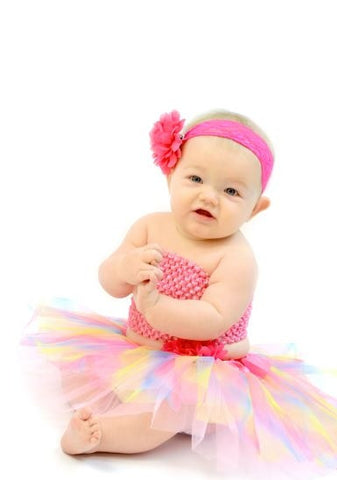 Hot Pink & Pastel Rainbow Tutu Set - Tutu, Top & Headband