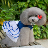 Dog Dress - Solid with Striped Tutu