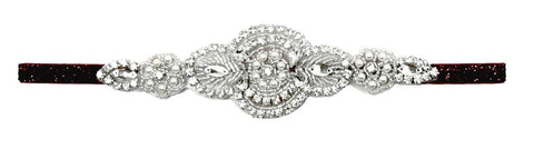 Round Rhinestone Applique With Silver Glitter Elastic Headband