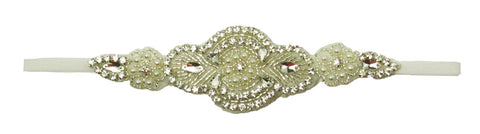 Round Rhinestone Applique With White Elastic Headband