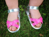 Silver & Pink Strappy Sandals