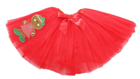 Red Tutu With Red Bow & Gingerbread Girl Embellishment