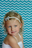 "Silver 2"" Sequin Bow On Skinny Headband - White"