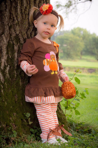 Brown & Orange Turkey with Stripes Top & Pants Set - 2 Piece Thanksgiving Outfit