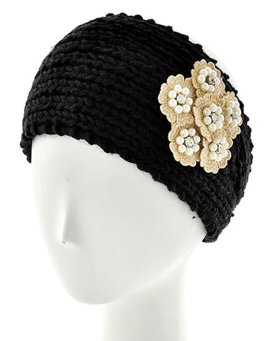 Womens Crochet Head Wrap With Embellished Flower- Black/Beige