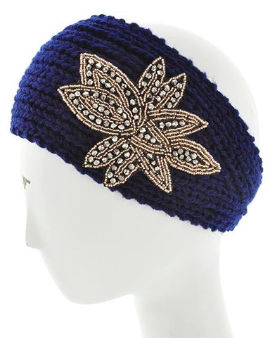 Womens Crochet Head Wrap With Embellished Flower- Blue/Gold