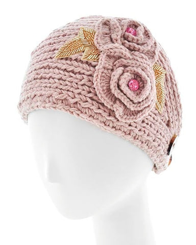Womens Crochet Head Wrap With Embellished Flower- Tan/Pink