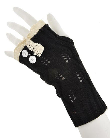 Ladies Knit Fingerless Gloves with Buttons & Lace Accent