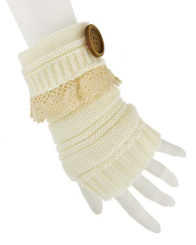Womens Crochet Fingerless Gloves With Lace And Buttons