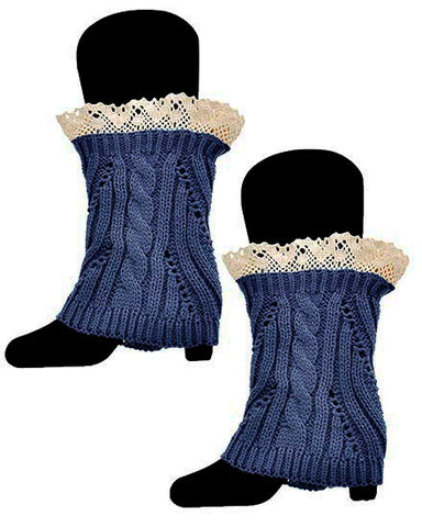 Ladies Boot Cuff Crochet Legwarmers with Lace Trim