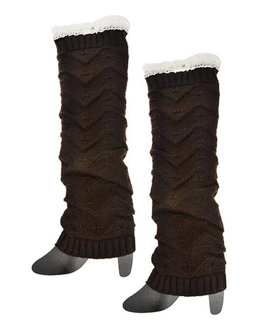 Ladies Knitted Boot Cuff Legwarmers with Lacy Trim