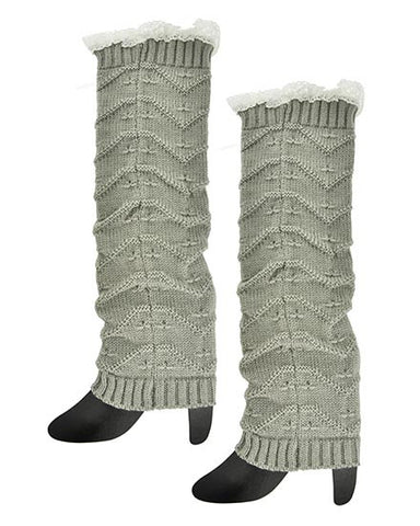 Ladies Knitted Boot Cuff Legwarmers with Lace Trim