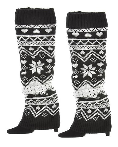 Womens Black Crochet Boot Cuff Legwarmers