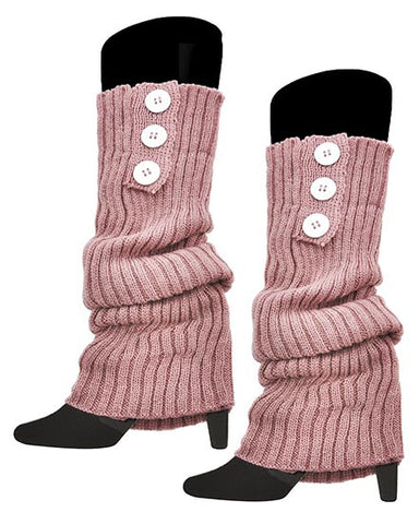 Womens Knit Boot Cuff Legwarmers with Button Accents