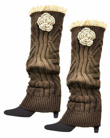Ladies Crochet Boot Cuff Legwarmers With Tan Lace Accents