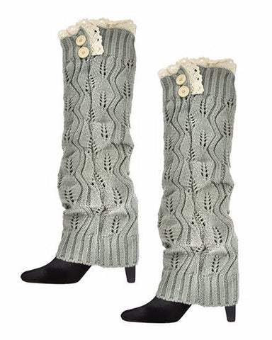 Womens Knit Boot Cuff Legwarmers with Tan Lace Trim