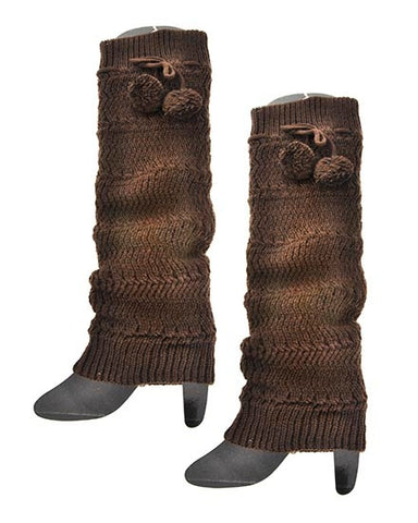 Womens Brown Boot Cuff Legwarmers With Pom Pom Ties