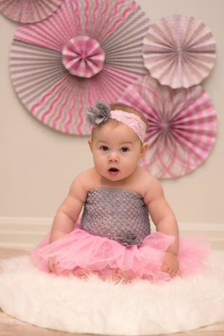 Pink & Gray Tutu Set - Tutu, Crochet Top & Headband