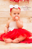 Red & White Tutu Set - Tutu, Crochet Top & Headband With Bow