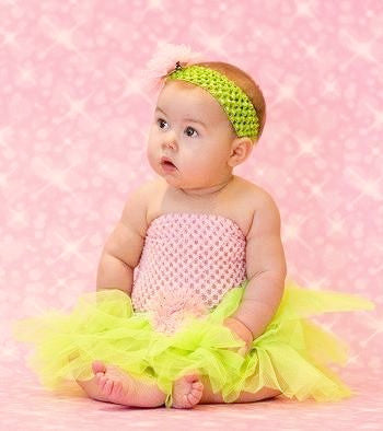 Lime & Pink Tutu Set - Tutu, Crochet Top & Headband