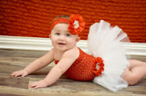 White & Red Rhinestone & Pearl Tutu Set - Tutu, Top & Headband