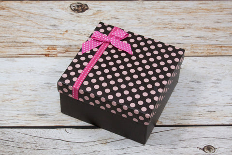 "Brown with Pink Dots Gift Box - 6"" x 6"" - 2 Piece"