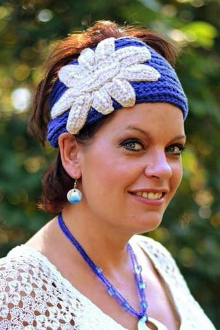 Women's Crochet Head Wrap- Blue/Tan/White