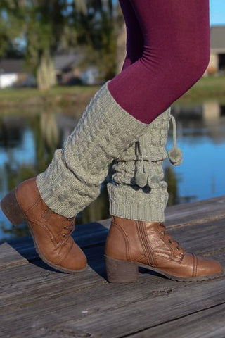 Womens Crochet Boot Cuff Legwarmers with Pom Poms