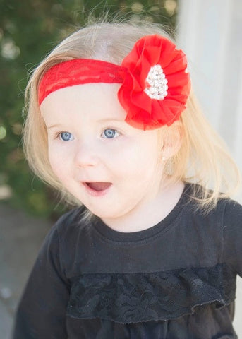 "Red Chiffon With Pearl & Rhinestone Flower On 2"" Red Lace Headband"