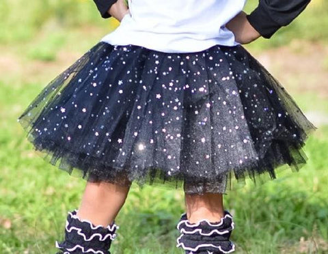 Girls Elastic Dance Tutu With Sparkle Stars