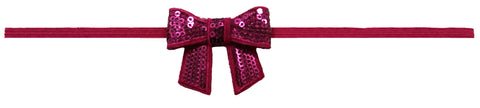 "Hot Pink 2"" Sequin Bow On Skinny Headband - Hot"