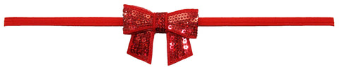 "Red 2"" Sequin Bow On Skinny Headband - Red"